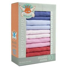 Mini Muslin 10 Pack in Pinks - can be used as a burp cloth, bib, washcloth, wipe or change mat. So functional!