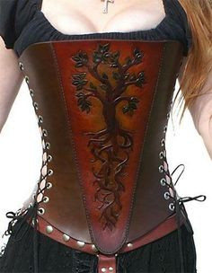 corset renaissance Tree of Life Corset - love this! And just found Celtic/Steampunk earrings to go with it/ Corset Steampunk, Mode Steampunk, Style Steampunk, Steampunk Fashion, Steampunk Earrings, Steampunk Clothing, Gothic Fashion, Emo Fashion, Corsets