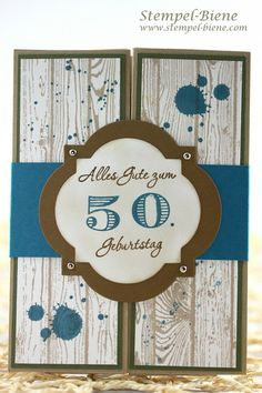 handmade birthday card: Money gift card 50th birthday, money gift card for a man, Stampin 'Up Gorgeous  ... gatefold with belly band .. label medallion with big stamped 50 ... whitewashed look fo woodgrain slats splatted with stamped grunge ... Stampin'Up!