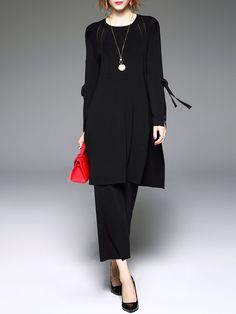 #AdoreWe #StyleWe Qeexi Long Sleeve Crew Neck Simple Slit Bow Two Piece Jumpsuit - AdoreWe.com