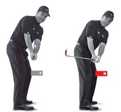 When I talk about the inside path, I'm talking about the downswing. You might think if you swing the club to the inside going back (above right), you'll be in position to swing down that way. But getting too far inside too soon encourages you to re-route the club to the outside -- known as coming over the top -- the very thing you're trying to avoid. Solution: check the shoulders and wrists. It's the job of your shoulders to move the club around your body. Simultaneously, it's the job of…