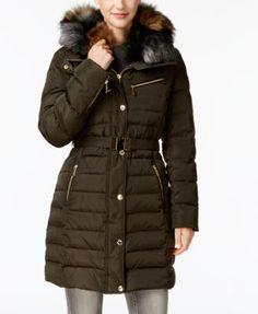 Michael Michael Kors Faux-Fur-Collar Hooded Down Puffer Coat - Green XS Michael Kors Puffer Coat, Michael Kors Coats, Winter Coat Outfits, Winter Outfits Women, Best Winter Jackets, Down Puffer Coat, Puffer Coats, Faux Fur Collar Coat, Green Coat