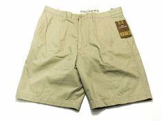 Dockers 34 Men's Cotton Pleated Casual Khaki Shorts NEW NWT #Dockers #CasualShorts