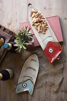 Ceramic Fishing Lure Plates Set/2 - Hudson and Vine More