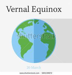 Veranl equinox day. Flat vector stock illustration.