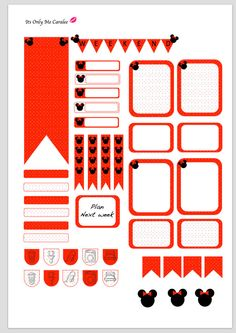 Minni planner stickers, Red and black by ItsOnlyMeCaralee on Etsy