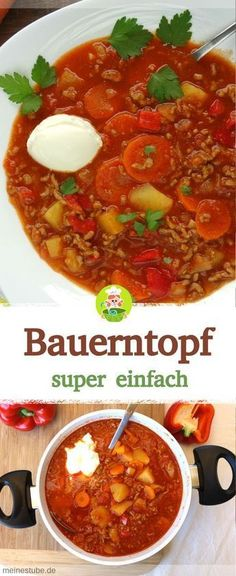 Farm pot for the whole family - super easy-Bauerntopf für die ganze Familie – super einfach Recipe for a delicious peasant pot with minced meat, potatoes and carrots. Meat Recipes, Cooking Recipes, Healthy Recipes, Apple Recipes, Carne Picada, Cooking Chef, Cooking Pork, Italian Cooking, Different Recipes