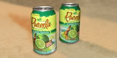 Pannela, 12 oz Fruit Juice Can Mock-Ups - In this case, printing on aluminum cans in small quantities, economically didn't make sense. ThinkWork applied a shrink-wrap label to a standard 12oz soda can that was sprayed silver to eliminate show though. The end result appeared to be the professionally printed finished product you see here.