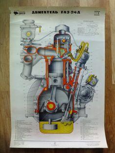 Vintage Soviet CCCP Engine Blueprint School Pull by ContesDeFees