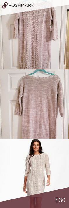 Cable Knit Sweater Dress Perfect dress for work or hanging out for drinks!  Oatmeal Color Sweater Dress | Knee Length | Size Small | NWT Old Navy Dresses