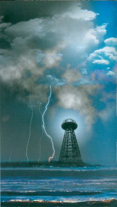 "Wardenclyffe Tower, Tesla's Idea about electrical control of rainfall. From the book ""Tesla"" by Dr. Nikola Tesla, Wardenclyffe Tower, Eco Energie, Tesla Inventions, Tesla Coil, Weird Science, Serbian, Ancient Aliens, The Book"