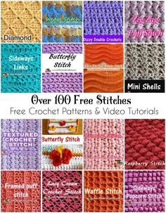 Stitch Encyclopedia [Free Crochet Patterns and Video Tutorials] Almost 100 stitches in one place.Share this: Crochet tutorial that teaches you how to make this beautiful granny ripple stitch. Find more crochet stitches here on the category Crochet St Crochet Stitches Free, Stitch Crochet, Crochet Motifs, Tunisian Crochet, Learn To Crochet, Points Crochet, Different Crochet Stitches, Butterfly Stitches, Crochet Butterfly