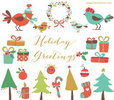 Free Clipart & Photoshop Brushes // Holiday Greetings