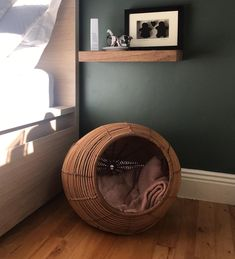 #basket #homedecor #catsofinstagram #farrowandball  #greensmoke Cat Basket, Bed Sheets, Cats Of Instagram, Nest, Master Bedroom, Wood, Inspiration, Home Decor, Nest Box
