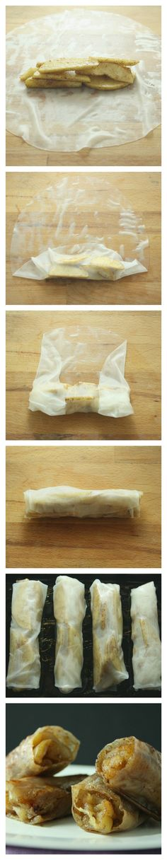 Baked Apple Pie Rice Paper Rolls - not sure how to avoid these sticking to tray? Maybe lots of oil?