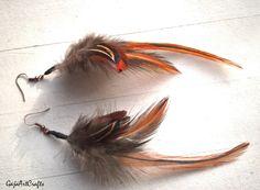 Rusty angel wings feather earrings, Boho and Hippie feather earrings, Natural feather earring, Brown dangle earrings Bohemian style earrings by GajaArtCrafts on Etsy