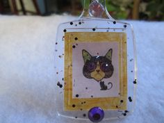 Sugar Skull Kitty Frosted Keychain, Sugar skull Cat Keychain, Cat Sugar Skull Jewelry, Purse Accessories, Cat Gifts, Sugar Skull Cat Art by FoxHuffDesigns on Etsy