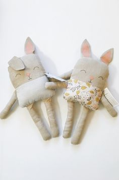 Sweet Handmade Linen Bunnies | TateandAdele on Etsy