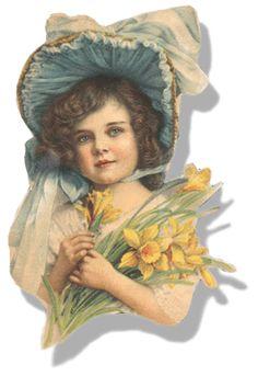 Vintage Easter--Girl in EasterBonnet