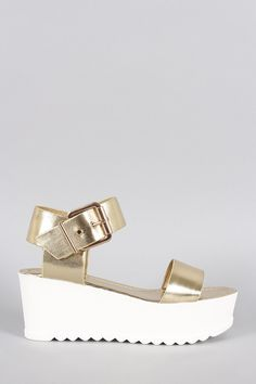 This street-chic sandal was designed as a flatform. Druzy Ring, Bamboo, Metallic, Sandals, Rings, Shoes, Jewelry, Style, Fashion