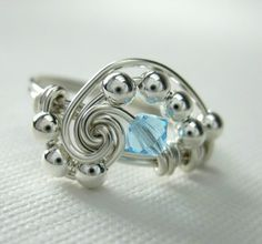 Pi  Wire Wrapped Ring Aquamarine Crystal and by holmescraft, $24.00