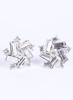 Silver Rectangle Diamond Stud Earrings
