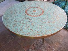 Stunning Mosaic Tile Top Circular Coffee Tables Mid Century Modern