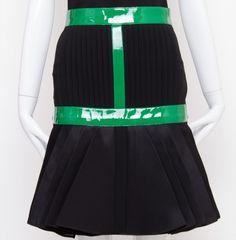 Black with Green Patent Godet Skirt