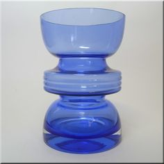 Riihimäen Lasi Oy / Riihimaki blue glass 'Tiimalasi' vase by Nanny Still, design number 1441.