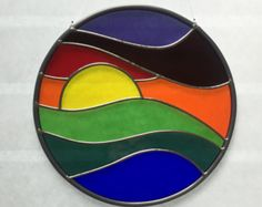 glass panels Stained glass sunset suncatcher, stain glass rainbow sun catcher, prism, beach decor by FoxStainedGlass on Etsy Stained Glass Light, Stained Glass Paint, Stained Glass Suncatchers, Stained Glass Crafts, Stained Glass Designs, Stained Glass Panels, Stained Glass Patterns, Mirror Mosaic, Mosaic Art