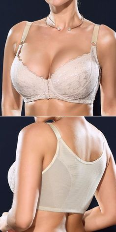 8c618074ffeda H Cup Front Closure Gather Embroidery Plus Size Push Up Thin Bra
