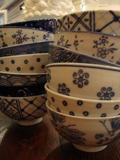 Blue Handpainted Bowls @relishdecor #relishthis