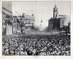 Huge crowds of unruly men blocked the path of the March 3, 1913, suffrage parade.    Exhibit No. 36, View of the Woman Suffrage Parade from the Willard Hotel, Washington DC, from the Hearings before the Subcommittee of the Committee of the District of Columbia of the United States Senate, pursuant to S. Res 499, March 4, 1913, 63rd Congress (Y4.D63/2:W84); RG 287, National Archives