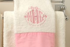Perfectly pink monogrammed towels.