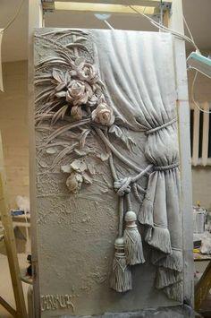 Mural clay art on canvas, painting Paper Mache Sculpture, Sculpture Painting, 3d Painting, Texture Art, Texture Painting, Mixed Media Canvas, Mixed Media Art, Glue Art, Plaster Art