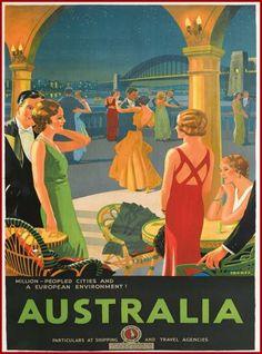 Australia-Sydney-Bridge-Australian-Vintage-Travel-Advertisement-Art-Poster-Print