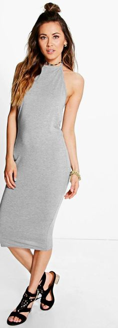 Chiara Basic Halterneck Midi Dress - Dresses  - Street Style, Fashion Looks And Outfit Ideas For Spring And Summer 2017