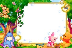 Marcos bebe Winnie The Pooh Drawing, Winnie The Pooh Pictures, Cute Winnie The Pooh, Winnie The Pooh Birthday, Boarder Designs, Page Borders Design, Pooh Baby, Photo Frame Wallpaper, Disney Frames