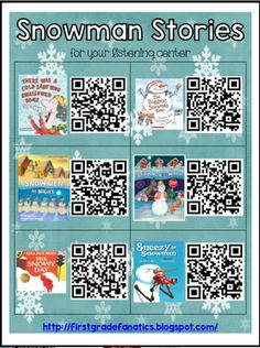 by First Grade Fanatics Kindergarten - Grade Here are some great Snowman Story QR codes for your listening center! Want to find . Kindergarten Listening Center, Listening Station, Kindergarten Literacy, Teaching Reading, Listening Centers, Preschool, Listening Activities, Guided Reading, Teaching Ideas