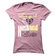 This girl loves her Husband and Maltese T-Shirts, Hoodies. CHECK PRICE ==► https://www.sunfrog.com/Pets/This-girl-loves-her-Husband-and-Maltese-LightPink-36121348-Ladies.html?id=41382
