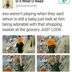 D'awww!! He's so cute!! (I would probably do the same lol) #KpopFunny | baby Sehun <3 What a cutie