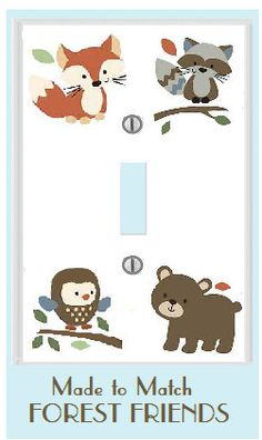 FOREST FRIENDS m2m CARTER'S animals owl bear fox tree tops electrical outlet switch plate cover bedding and knobs. $10.00, via Etsy.