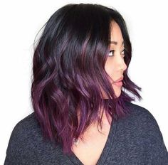 18 black roots and purple balayage hair - Styleoholic Dark Purple Hair Color, Ombre Hair Color, Dark Ombre, Violet Ombre, Short Ombre, Red Colour, Dark Hair Colours, Purple Ombre Hair Short, Pastel Ombre Hair