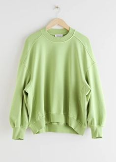 Voluminous Dropped Shoulder Sweatshirt - Green - Sweaters - & Other Stories Velvet Tops, Fashion Story, Black Bodysuit, S Models, Black Sweaters, Shirt Outfit, Black Tops, Long Sleeve Tops, Clothes For Women