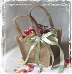 DolledUp Burlap Flower Girl Basket, with a coral ribbon instead