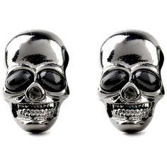 ZMJ Black Skull Earrings Punk Statement Stud Earrings(J-E144) ($9) ❤ liked on Polyvore featuring jewelry, earrings, stud earrings, punk rock earrings, punk earrings, earring jewelry and skull jewellery