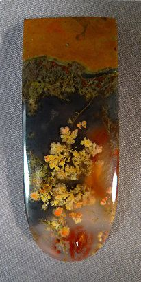 PRIDAY PLUME AGATE original upload by Tom Biggs. I see fall leaves floating on the surface of a dark pond. Minerals And Gemstones, Crystals Minerals, Rocks And Minerals, Stones And Crystals, Gem Stones, Beautiful Rocks, Rocks And Gems, Stone Art, Jasper
