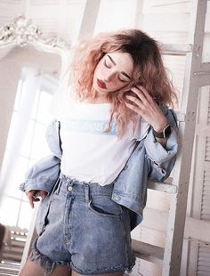 Graphic shirt, denim jacket & shorts by septembrenell