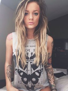 Of I ever got a sleeve this is how I would want to look, hair, outfit, tats... This girl is doing sexy right