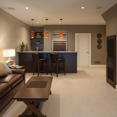 Browse basement pictures. Discover a variety of finished basement ideas, layouts and decor to inspire your remodel #Basements
